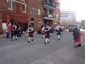 Wait for it, a second group of kilted bagpipers!